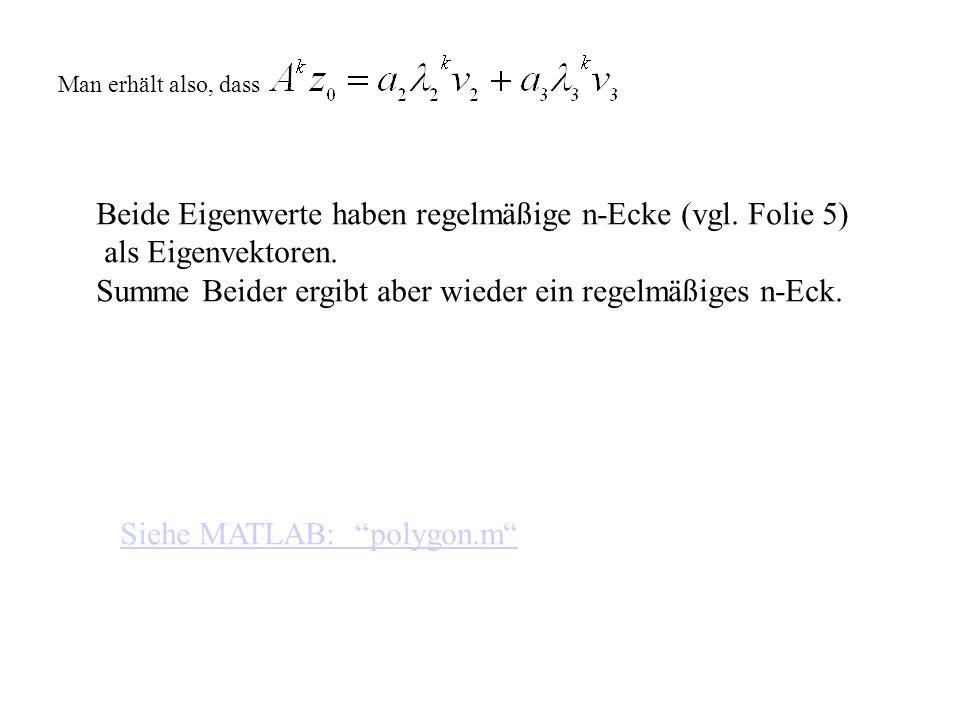 Man erhält also, dass Beide Eigenwerte haben regelmäßige n-Ecke (vgl. Folie 5) als Eigenvektoren. Summe Beider ergibt aber wieder ein regelmäßiges n-E