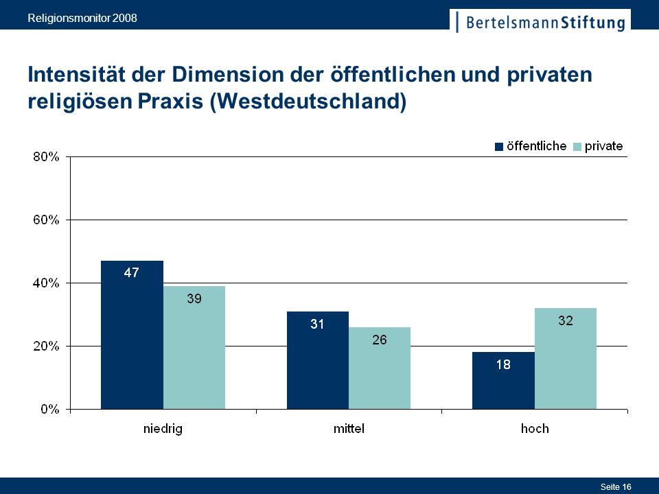 Religionsmonitor 2008 Seite 16 Intensität der Dimension der öffentlichen und privaten religiösen Praxis (Westdeutschland)