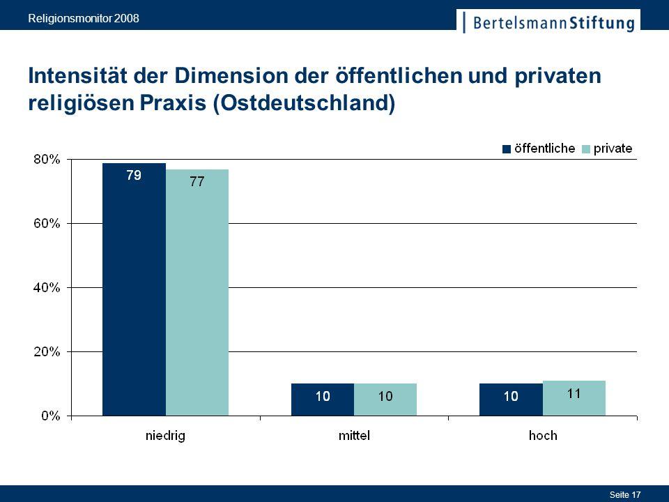 Religionsmonitor 2008 Seite 17 Intensität der Dimension der öffentlichen und privaten religiösen Praxis (Ostdeutschland)