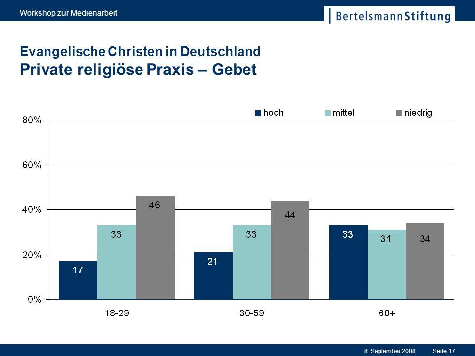 8. September 2008 Workshop zur Medienarbeit Seite 17 Evangelische Christen in Deutschland Private religiöse Praxis – Gebet