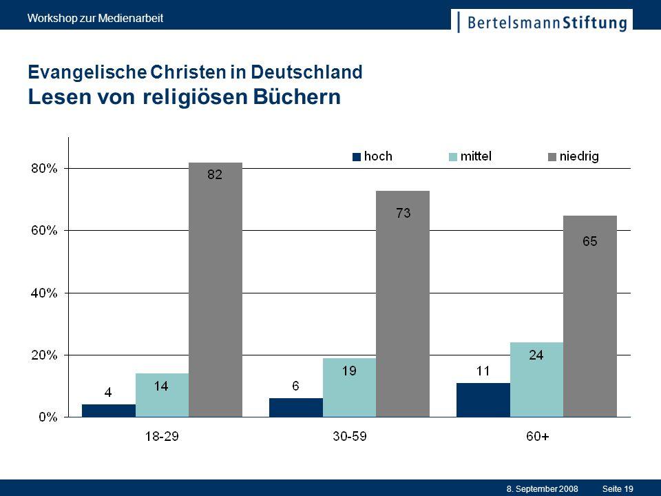 8. September 2008 Workshop zur Medienarbeit Seite 19 Evangelische Christen in Deutschland Lesen von religiösen Büchern
