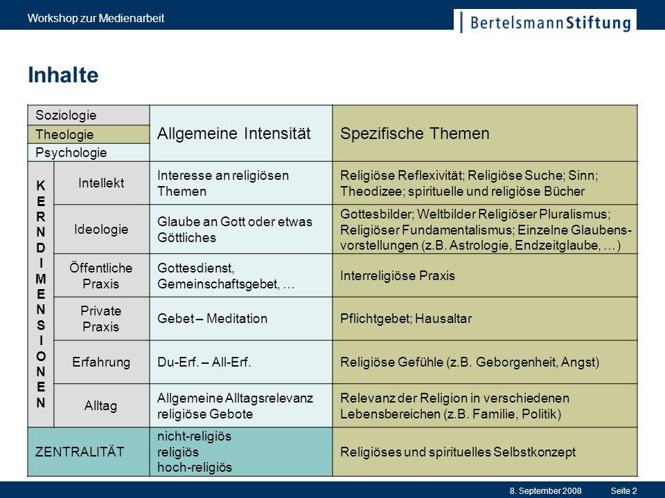 8. September 2008 Workshop zur Medienarbeit Seite 2 Inhalte Soziologie Allgemeine IntensitätSpezifische Themen Theologie Psychologie KERNDIMENSIONENKE