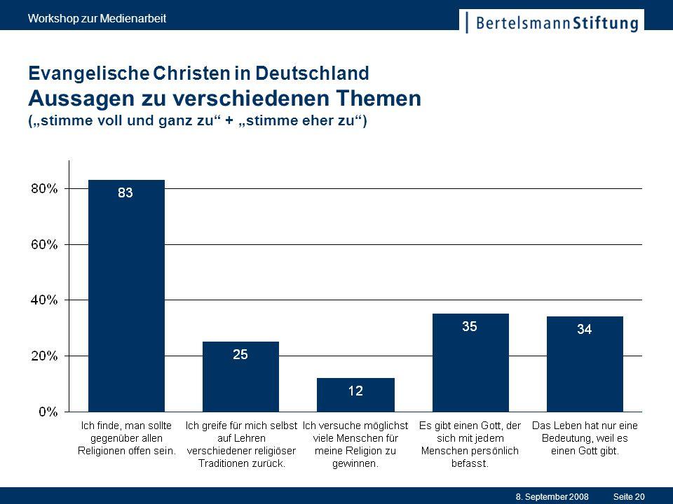 8. September 2008 Workshop zur Medienarbeit Seite 20 Evangelische Christen in Deutschland Aussagen zu verschiedenen Themen (stimme voll und ganz zu +