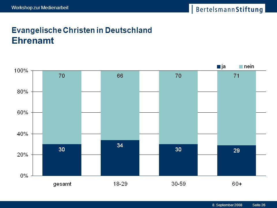 8. September 2008 Workshop zur Medienarbeit Seite 26 Evangelische Christen in Deutschland Ehrenamt