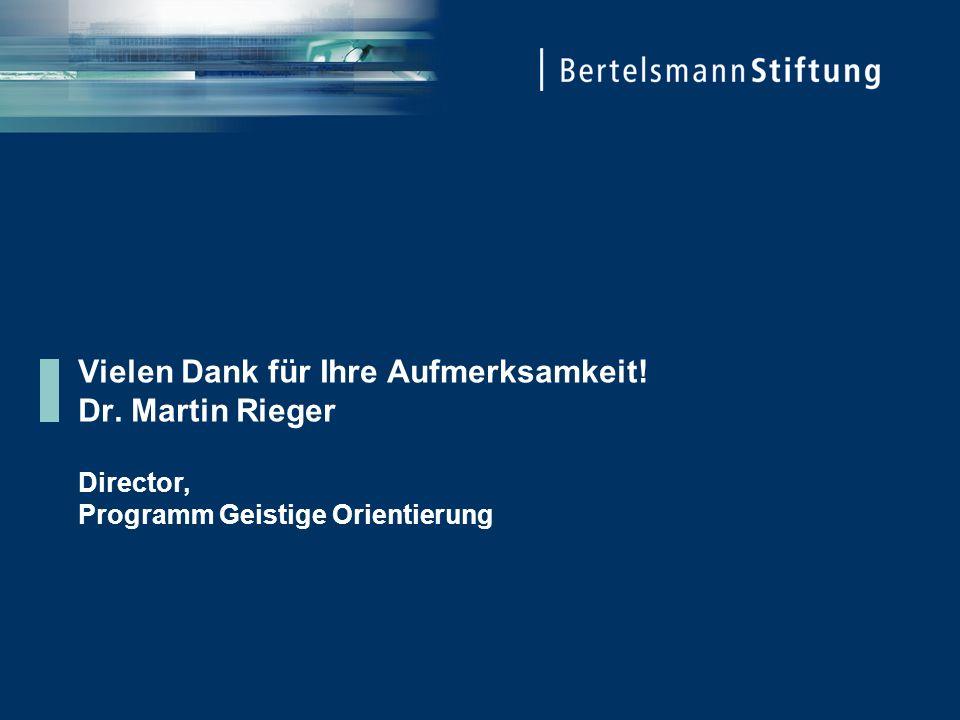 Vielen Dank für Ihre Aufmerksamkeit! Dr. Martin Rieger Director, Programm Geistige Orientierung