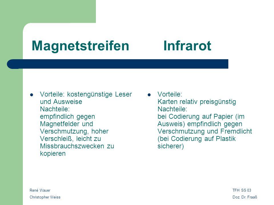 René Wauer Christopher Weiss TFH SS 03 Doz. Dr. Fraaß Magnetstreifen Infrarot Vorteile: kostengünstige Leser und Ausweise Nachteile: empfindlich gegen