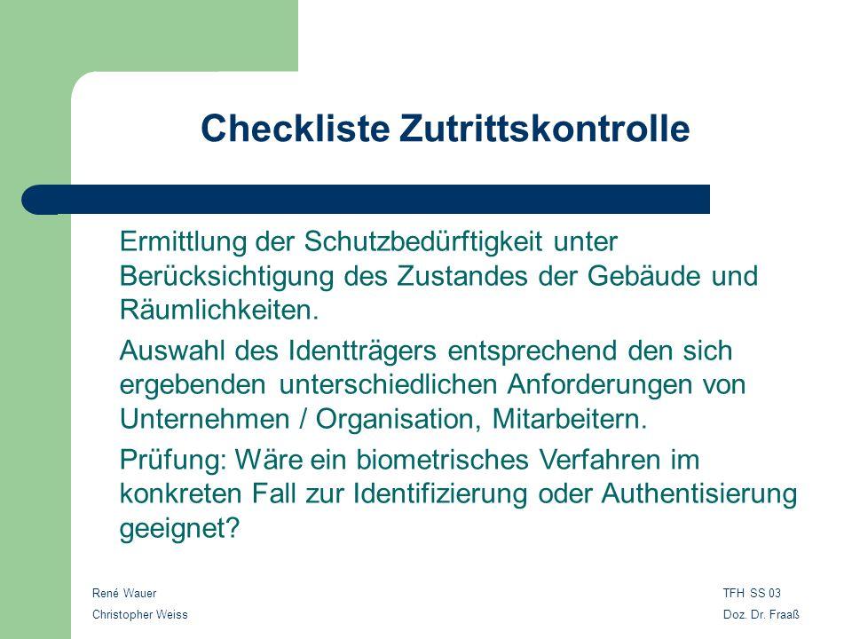 Checkliste Zutrittskontrolle René Wauer Christopher Weiss TFH SS 03 Doz. Dr. Fraaß Ermittlung der Schutzbedürftigkeit unter Berücksichtigung des Zusta