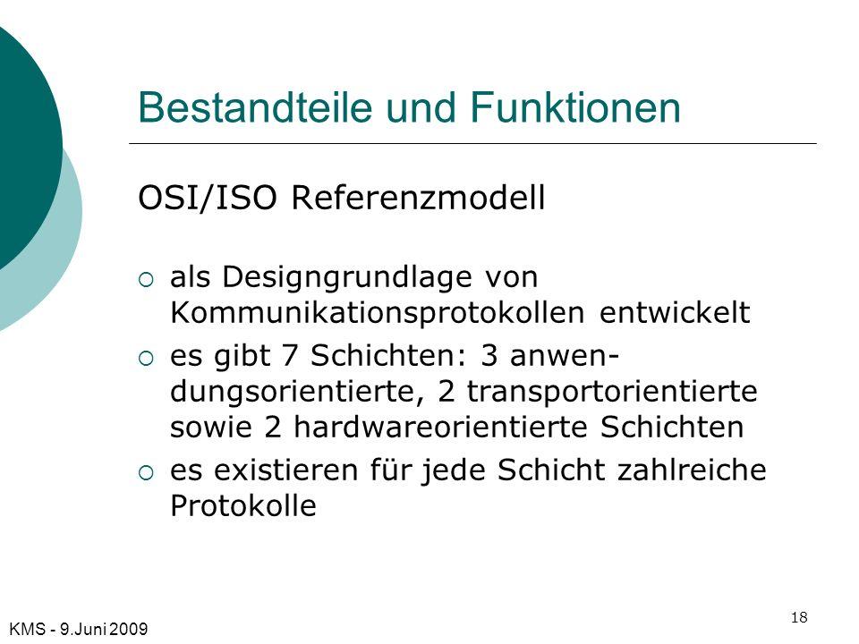 Bestandteile und Funktionen OSI/ISO Referenzmodell als Designgrundlage von Kommunikationsprotokollen entwickelt es gibt 7 Schichten: 3 anwen- dungsori