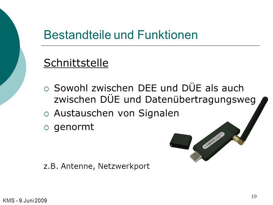 Bestandteile und Funktionen Schnittstelle Sowohl zwischen DEE und DÜE als auch zwischen DÜE und Datenübertragungsweg Austauschen von Signalen genormt
