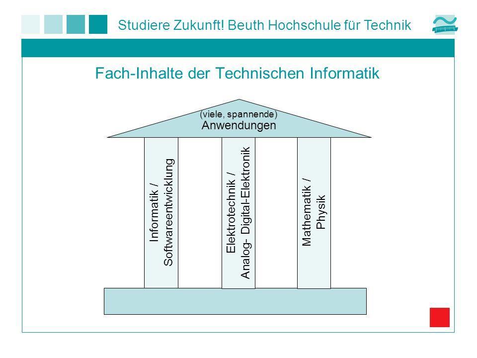 Studiere Zukunft! Beuth Hochschule für Technik Fach-Inhalte der Technischen Informatik Informatik / Softwareentwicklung Elektrotechnik / Analog- Digit