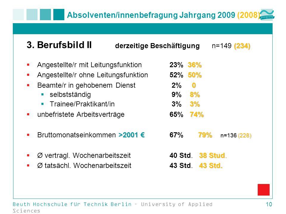 Beuth Hochschule für Technik Berlin – University of Applied Sciences 10 Absolventen/innenbefragung Jahrgang 2009 (2008) (234) 3. Berufsbild II derzeit