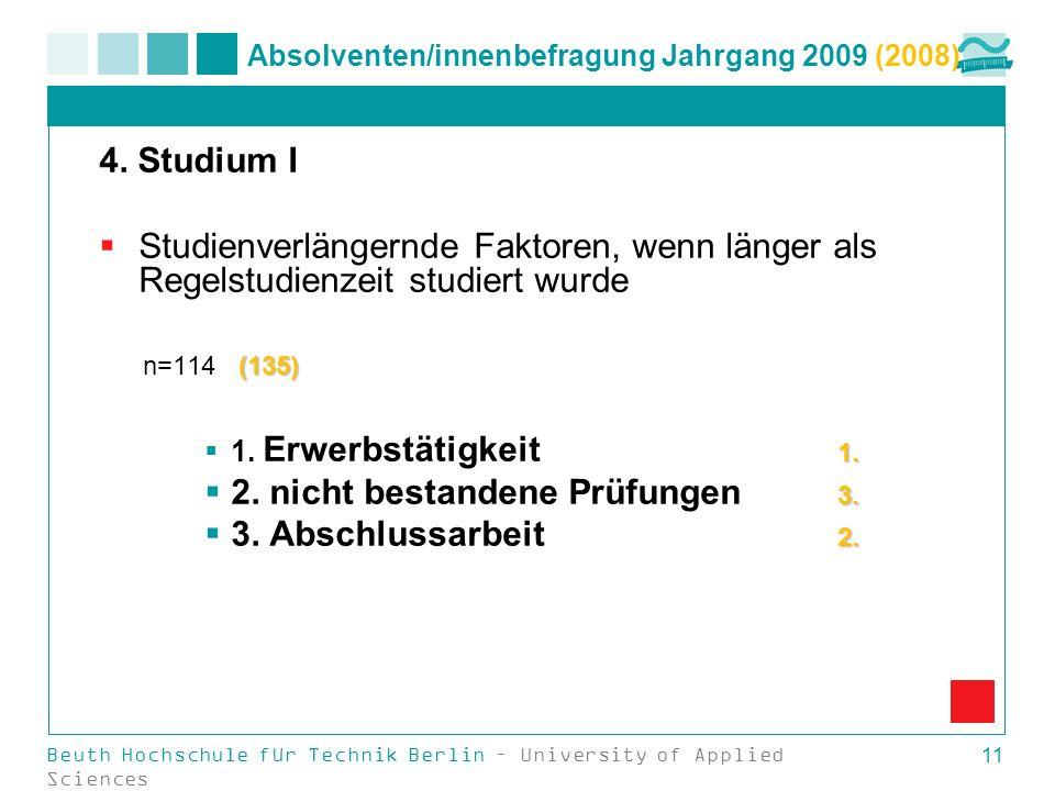 Beuth Hochschule für Technik Berlin – University of Applied Sciences 11 Absolventen/innenbefragung Jahrgang 2009 (2008) 4. Studium I Studienverlängern