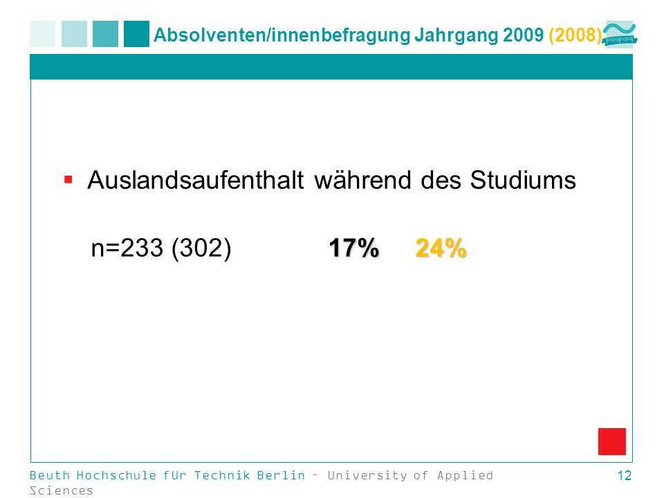 Absolventen/innenbefragung Jahrgang 2009 (2008) Auslandsaufenthalt während des Studiums 17% 24% n=233 (302)17% 24% Beuth Hochschule für Technik Berlin