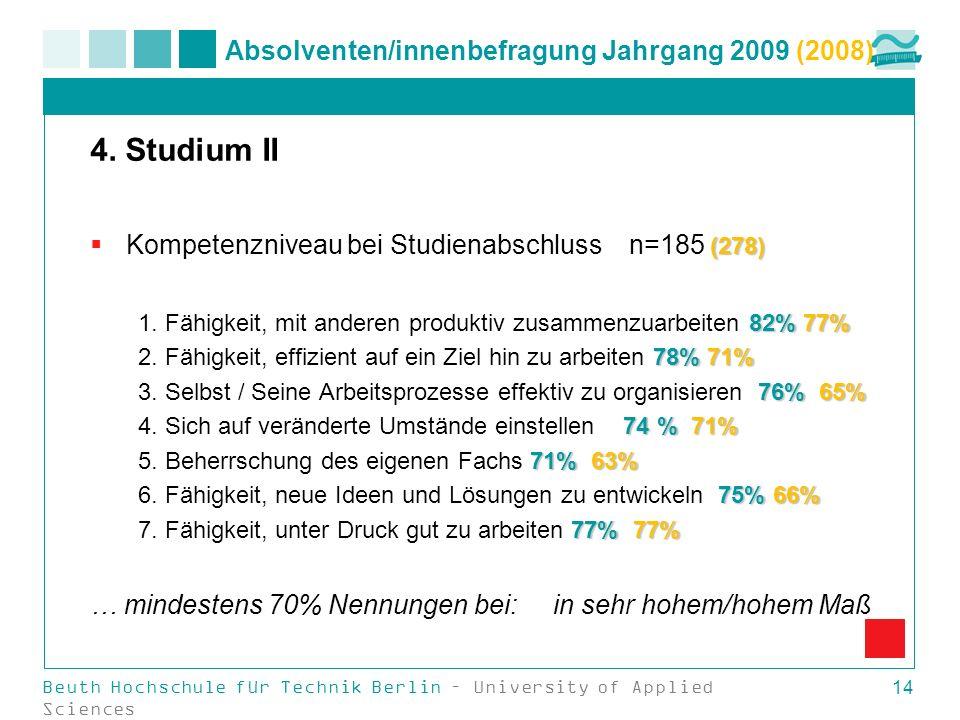 Beuth Hochschule für Technik Berlin – University of Applied Sciences 14 Absolventen/innenbefragung Jahrgang 2009 (2008) 4. Studium II (278) Kompetenzn