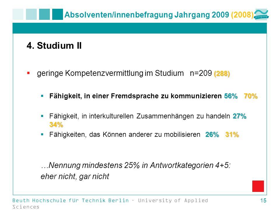 Beuth Hochschule für Technik Berlin – University of Applied Sciences 15 Absolventen/innenbefragung Jahrgang 2009 (2008) 4. Studium II (288) geringe Ko