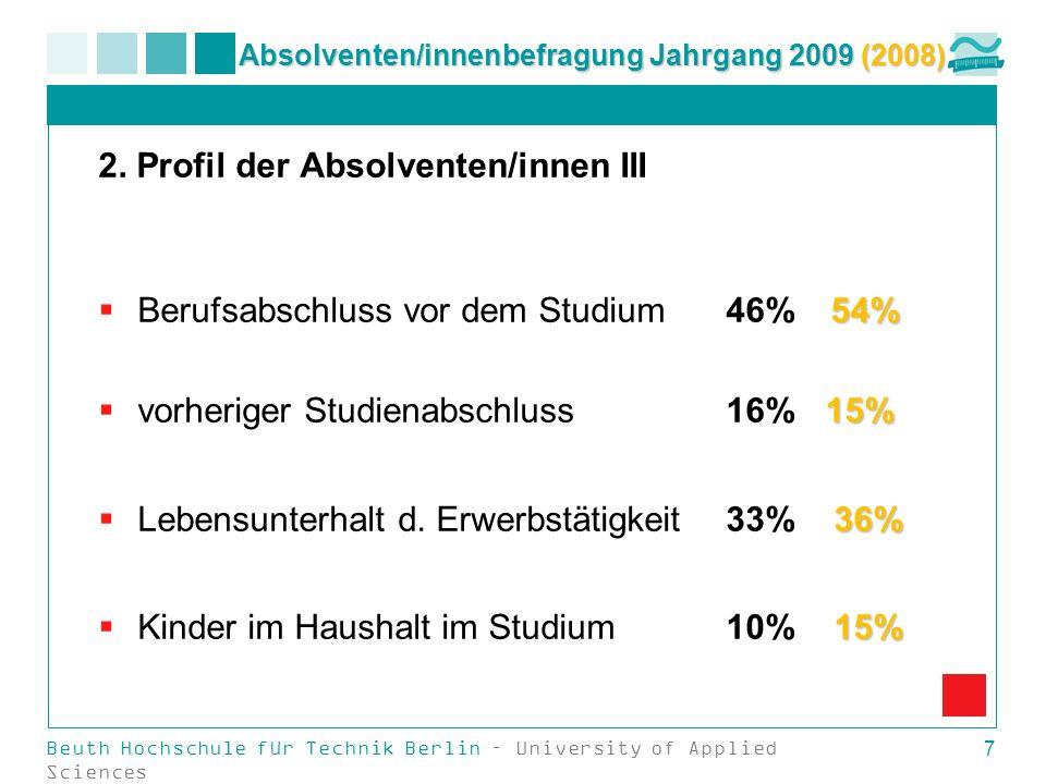 Beuth Hochschule für Technik Berlin – University of Applied Sciences 7 Absolventen/innenbefragung Jahrgang 2009 (2008) 2. Profil der Absolventen/innen