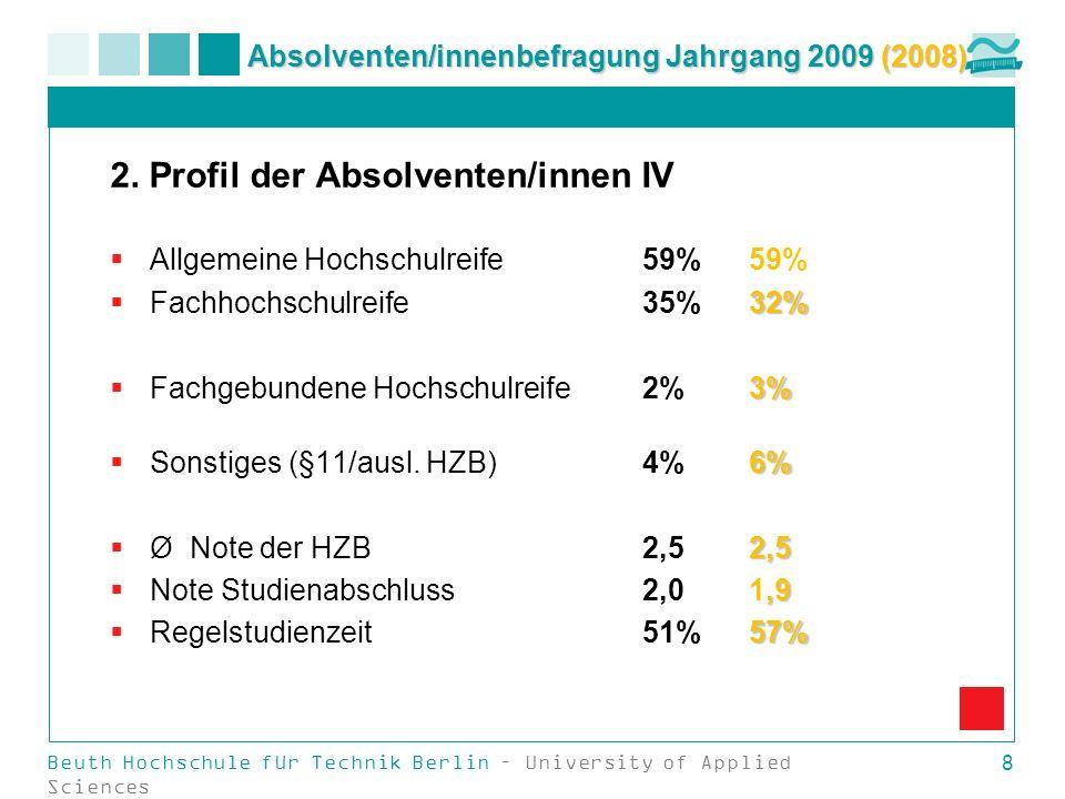 Beuth Hochschule für Technik Berlin – University of Applied Sciences 8 Absolventen/innenbefragung Jahrgang 2009 (2008) 2. Profil der Absolventen/innen
