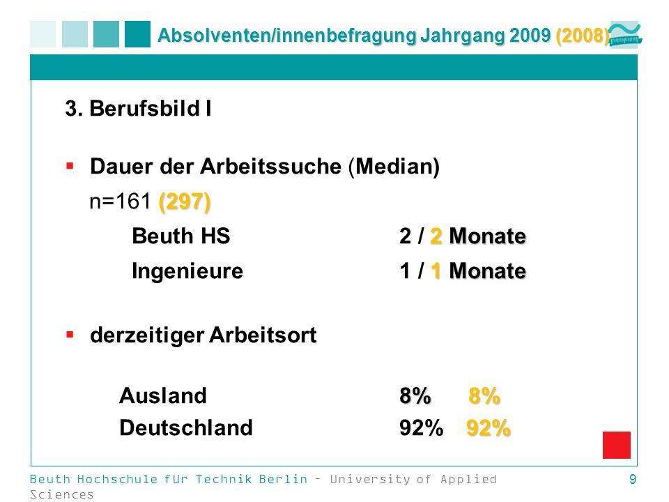 Beuth Hochschule für Technik Berlin – University of Applied Sciences 9 Absolventen/innenbefragung Jahrgang 2009 (2008) 3. Berufsbild I Dauer der Arbei