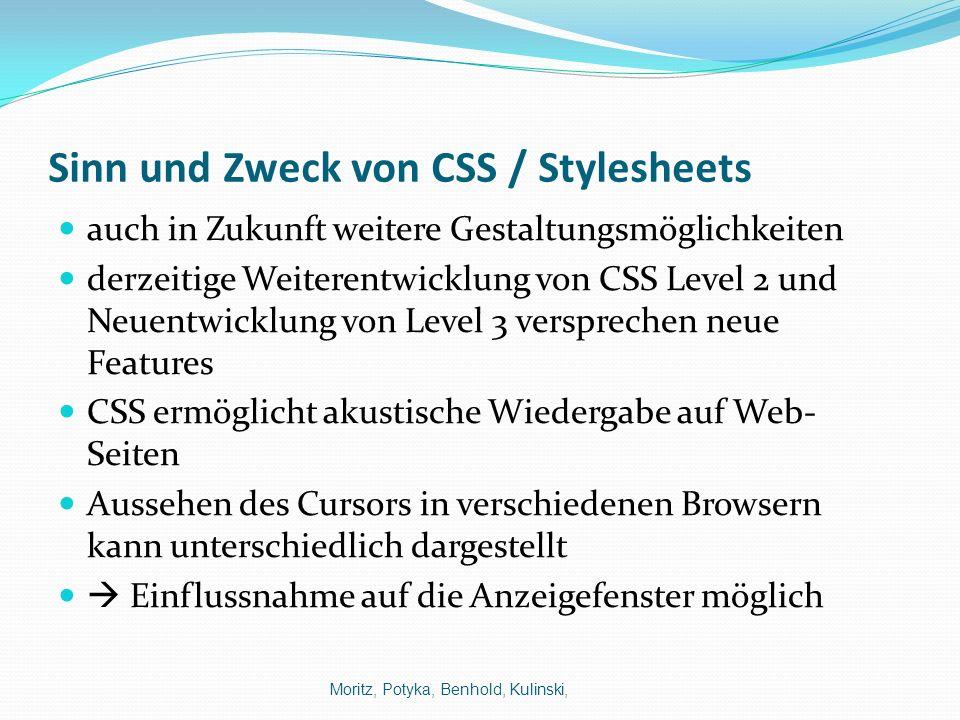 Sinn und Zweck von CSS / Stylesheets auch in Zukunft weitere Gestaltungsmöglichkeiten derzeitige Weiterentwicklung von CSS Level 2 und Neuentwicklung