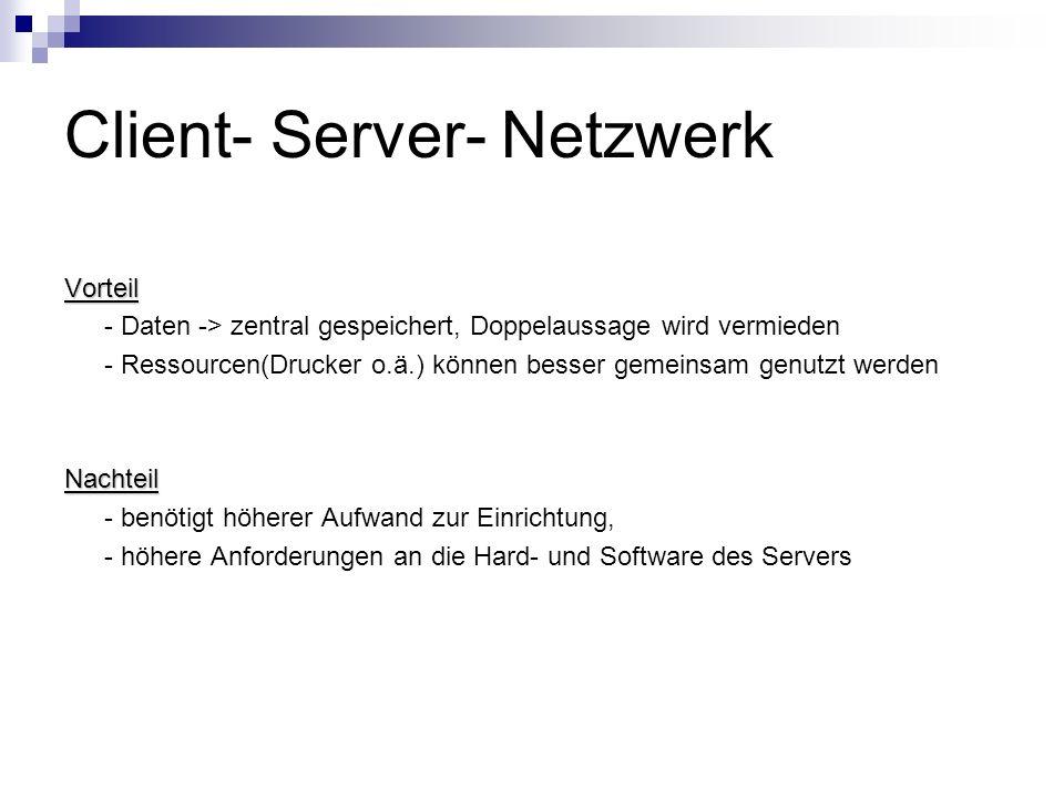 Client- Server- Netzwerk Vorteil - Daten -> zentral gespeichert, Doppelaussage wird vermieden - Ressourcen(Drucker o.ä.) können besser gemeinsam genut