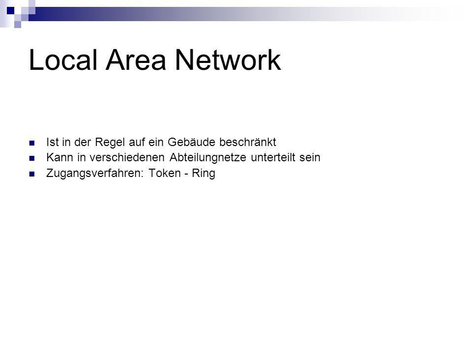 Local Area Network Ist in der Regel auf ein Gebäude beschränkt Kann in verschiedenen Abteilungnetze unterteilt sein Zugangsverfahren: Token - Ring