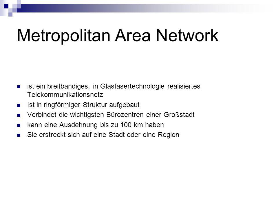 Metropolitan Area Network ist ein breitbandiges, in Glasfasertechnologie realisiertes Telekommunikationsnetz Ist in ringförmiger Struktur aufgebaut Ve