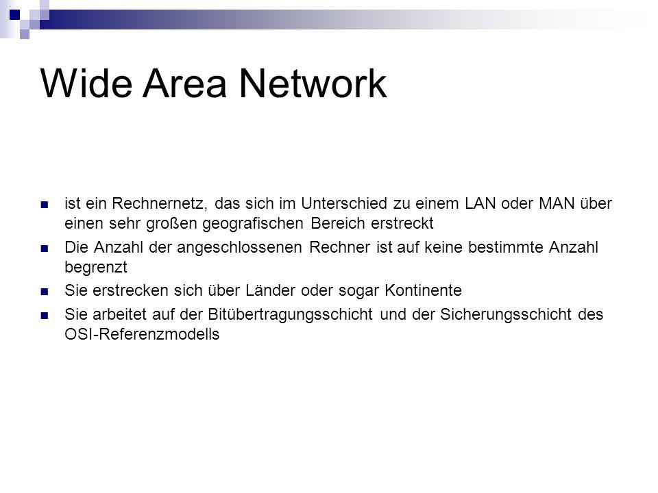 Wide Area Network ist ein Rechnernetz, das sich im Unterschied zu einem LAN oder MAN über einen sehr großen geografischen Bereich erstreckt Die Anzahl