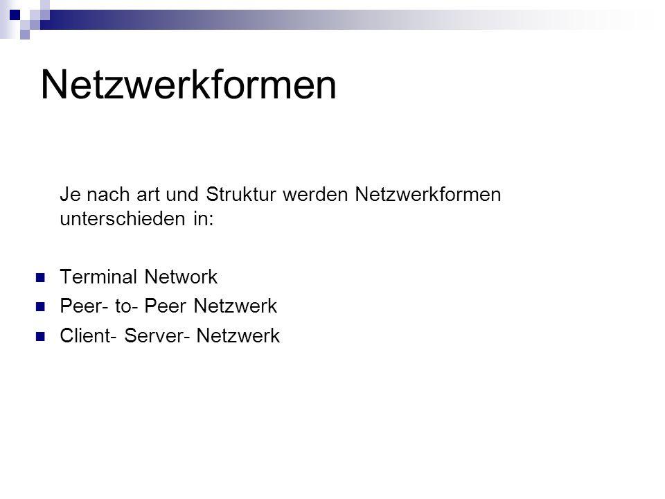 Netzwerkformen Je nach art und Struktur werden Netzwerkformen unterschieden in: Terminal Network Peer- to- Peer Netzwerk Client- Server- Netzwerk