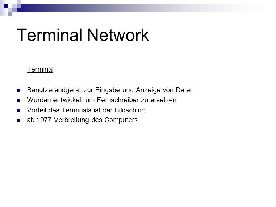 Terminal Network Terminal Benutzerendgerät zur Eingabe und Anzeige von Daten Wurden entwickelt um Fernschreiber zu ersetzen Vorteil des Terminals ist