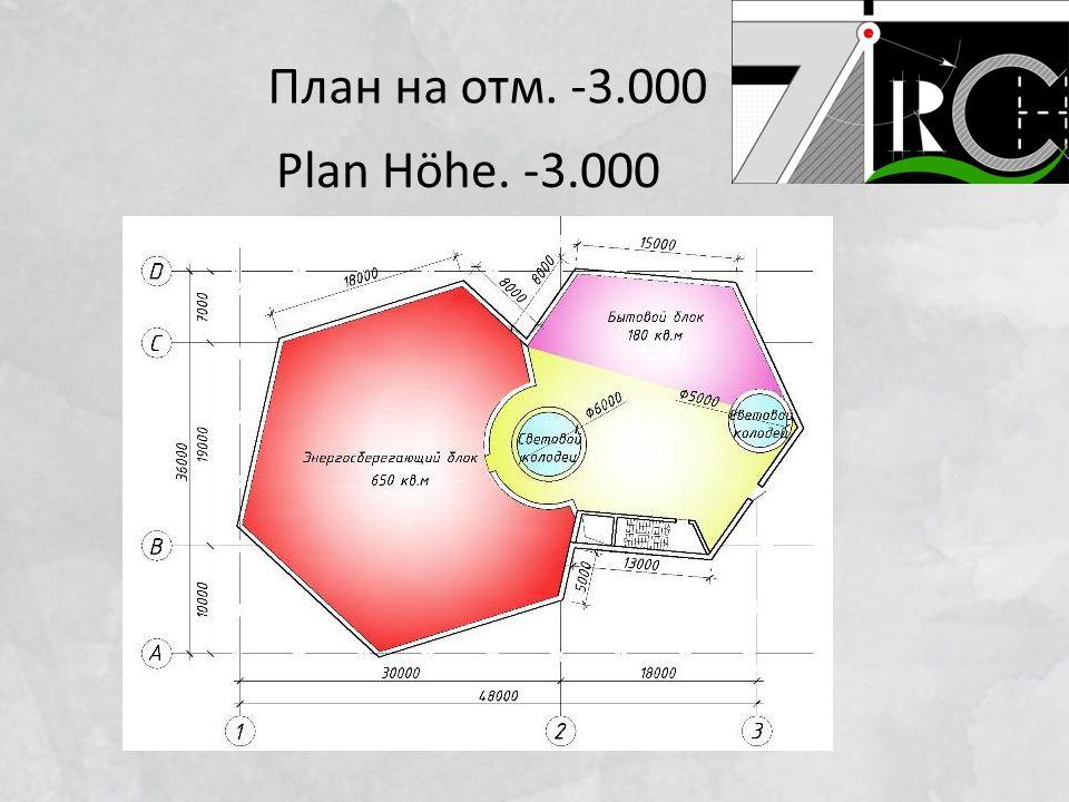 План на отм. -3.000 Plan Höhe. -3.000