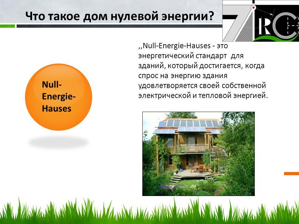 ,,Null-Energie-Hauses - это энергетический стандарт для зданий, который достигается, когда спрос на энергию здания удовлетворяется своей собственной э