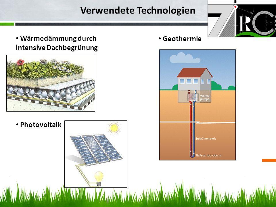 Verwendete Technologien Wärmedämmung durch intensive Dachbegrünung Geothermie Photovoltaik
