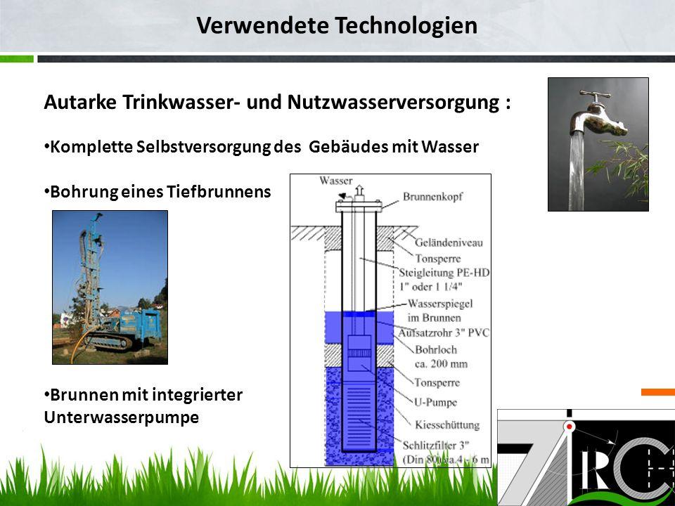 Verwendete Technologien Autarke Trinkwasser- und Nutzwasserversorgung : Komplette Selbstversorgung des Gebäudes mit Wasser Bohrung eines Tiefbrunnens Brunnen mit integrierter Unterwasserpumpe