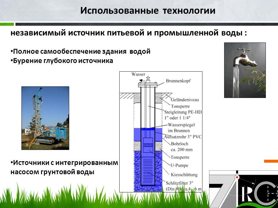 Использованные технологии независимый источник питьевой и промышленной воды : Полное самообеспечение здания водой Бурение глубокого источника Источники с интегрированным насосом грунтовой воды