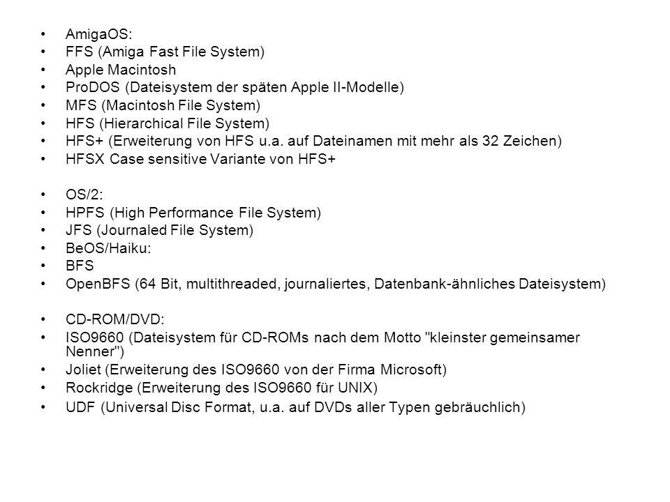 AmigaOS: FFS (Amiga Fast File System) Apple Macintosh ProDOS (Dateisystem der späten Apple II-Modelle) MFS (Macintosh File System) HFS (Hierarchical F