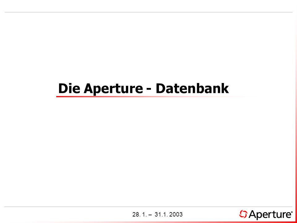 1 28. 1. – 31.1. 2003 Die Aperture - Datenbank