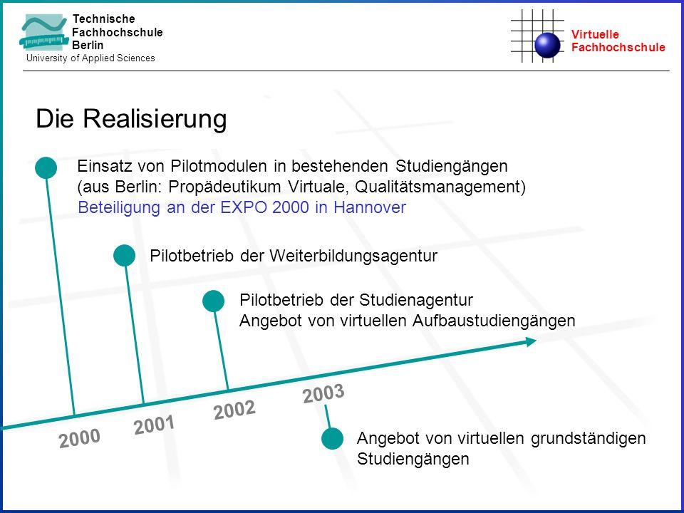 Virtuelle Fachhochschule Technische Fachhochschule Berlin University of Applied Sciences 2000 Pilotbetrieb der Weiterbildungsagentur Pilotbetrieb der