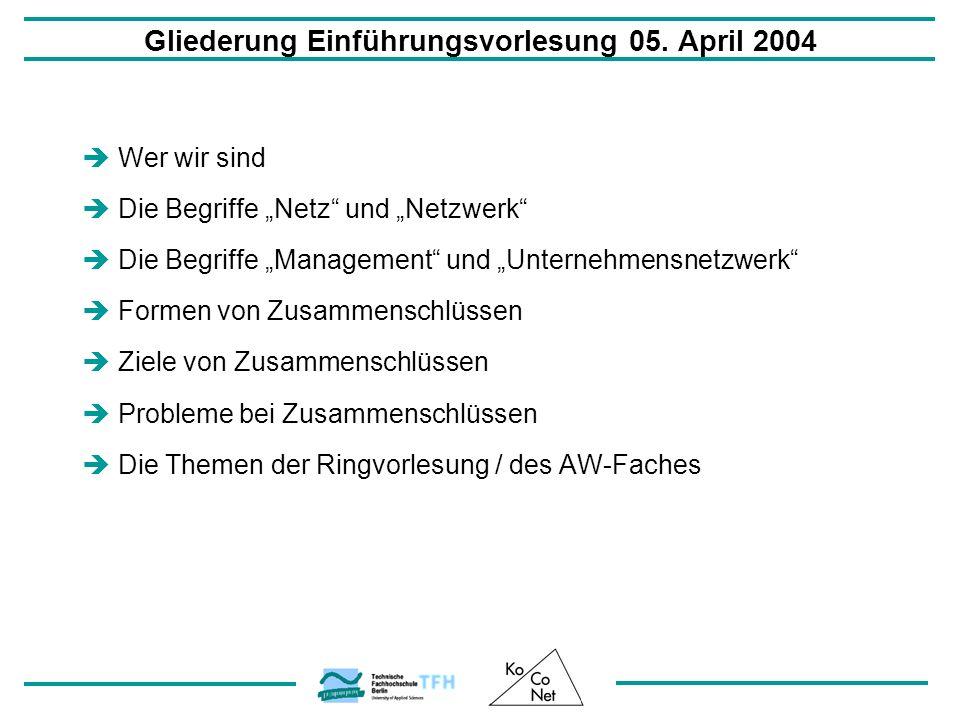 Gliederung Einführungsvorlesung 05. April 2004 Wer wir sind Die Begriffe Netz und Netzwerk Die Begriffe Management und Unternehmensnetzwerk Formen von