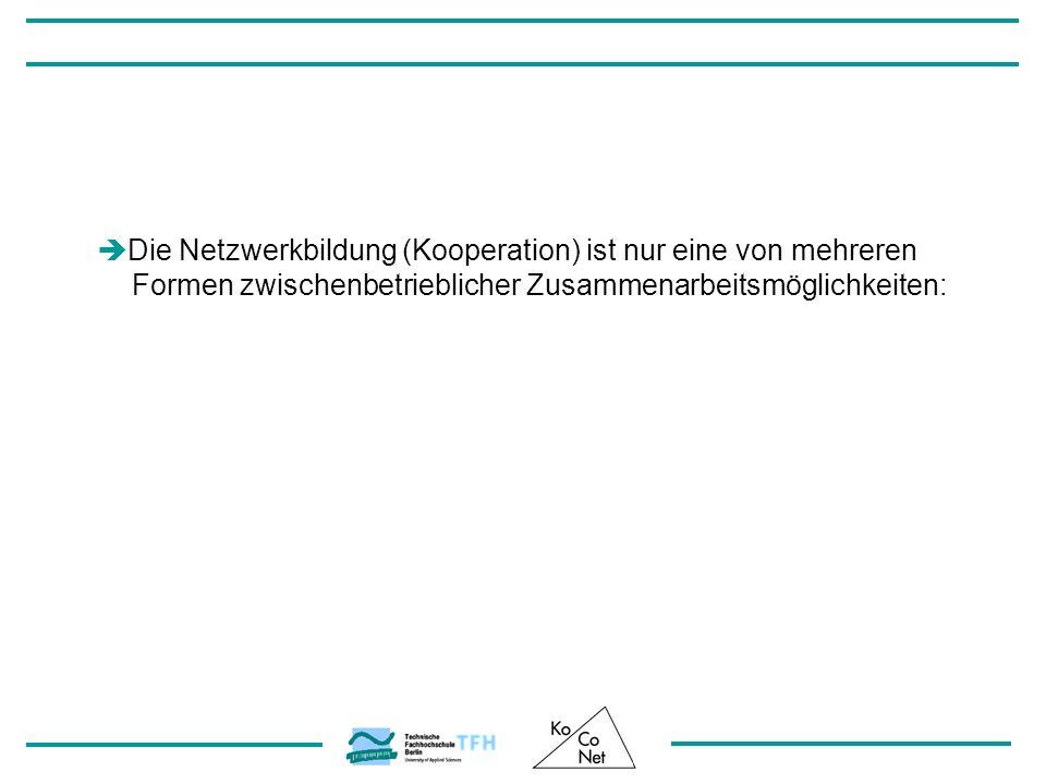 Die Netzwerkbildung (Kooperation) ist nur eine von mehreren Formen zwischenbetrieblicher Zusammenarbeitsmöglichkeiten: