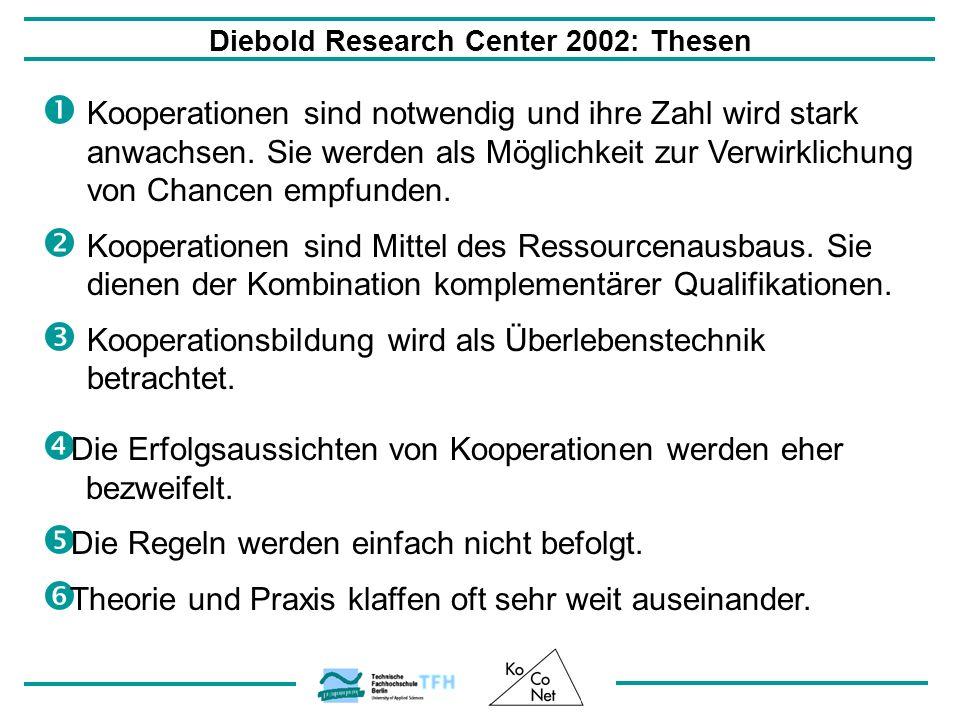 Diebold Research Center 2002: Thesen Kooperationen sind notwendig und ihre Zahl wird stark anwachsen. Sie werden als Möglichkeit zur Verwirklichung vo