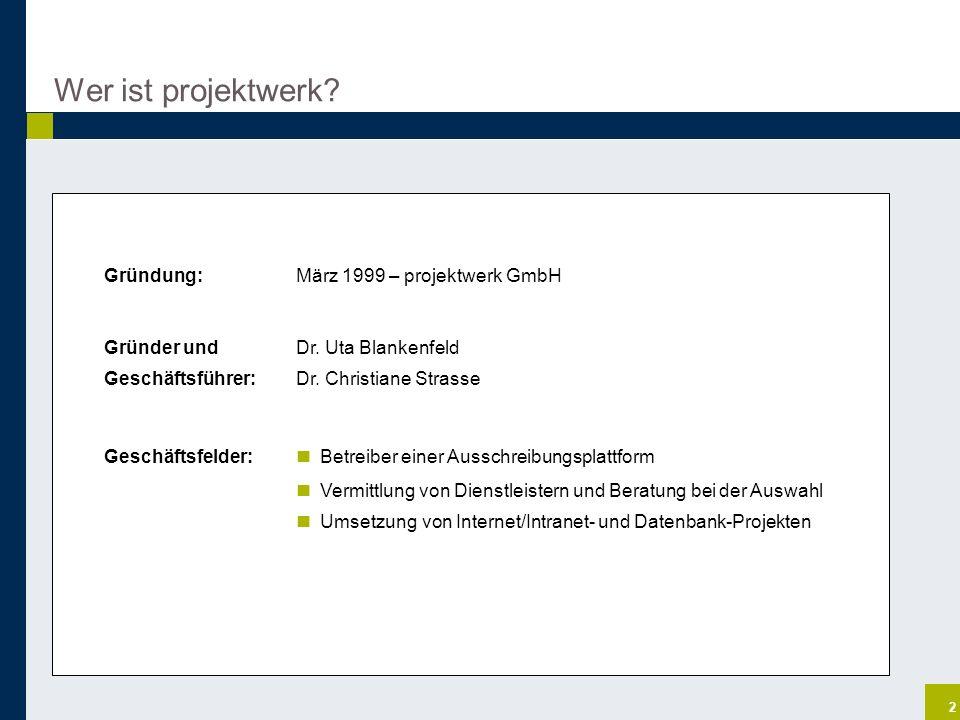 2 Wer ist projektwerk? Gründung: März 1999 – projektwerk GmbH Gründer und Dr. Uta Blankenfeld Geschäftsführer:Dr. Christiane Strasse Geschäftsfelder: