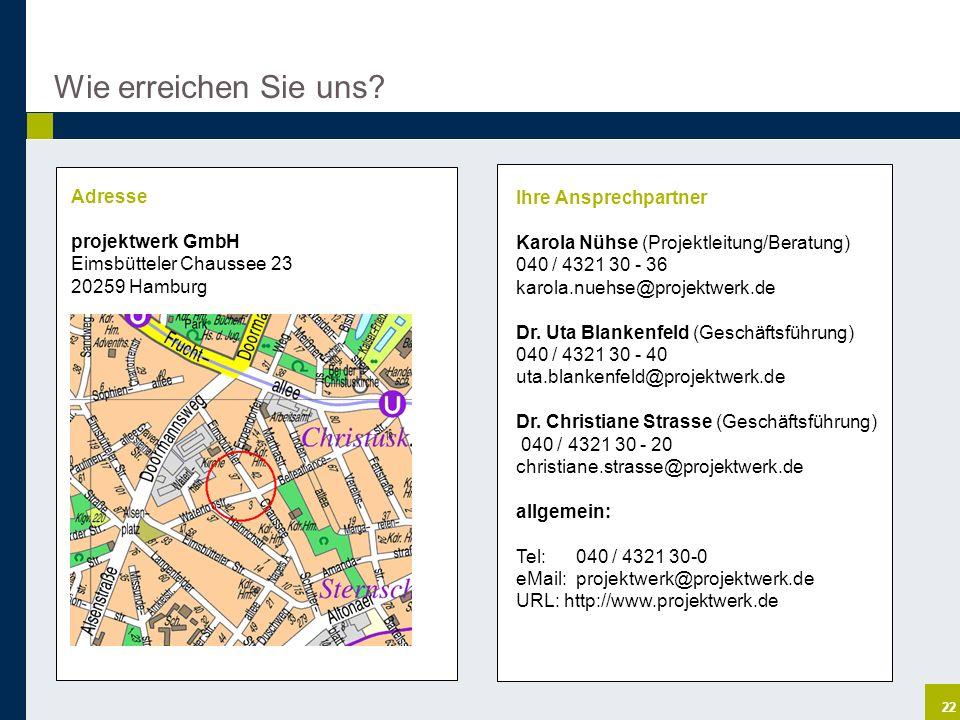 22 Wie erreichen Sie uns? Adresse projektwerk GmbH Eimsbütteler Chaussee 23 20259 Hamburg Ihre Ansprechpartner Karola Nühse (Projektleitung/Beratung)