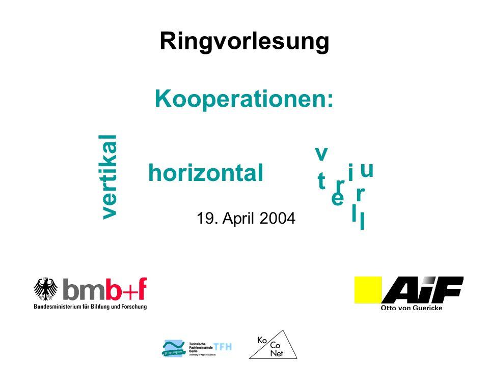 Kooperationen: 19. April 2004 Ringvorlesung v horizontal vertikal i t r e u l r l