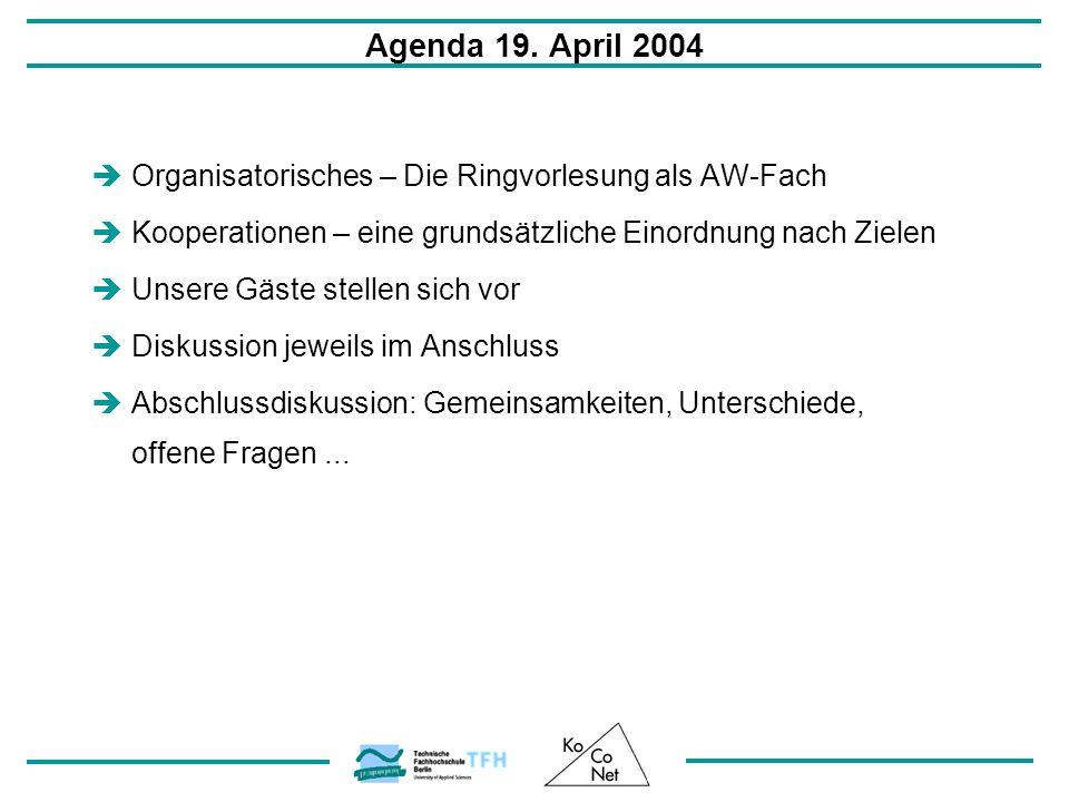Agenda 19. April 2004 Organisatorisches – Die Ringvorlesung als AW-Fach Kooperationen – eine grundsätzliche Einordnung nach Zielen Unsere Gäste stelle
