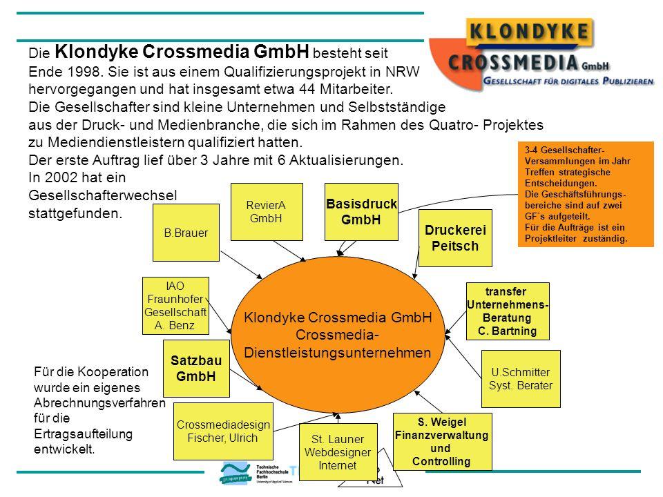 Klondyke Crossmedia GmbH Crossmedia- Dienstleistungsunternehmen B.Brauer RevierA GmbH Basisdruck GmbH Satzbau GmbH Die Klondyke Crossmedia GmbH besteh