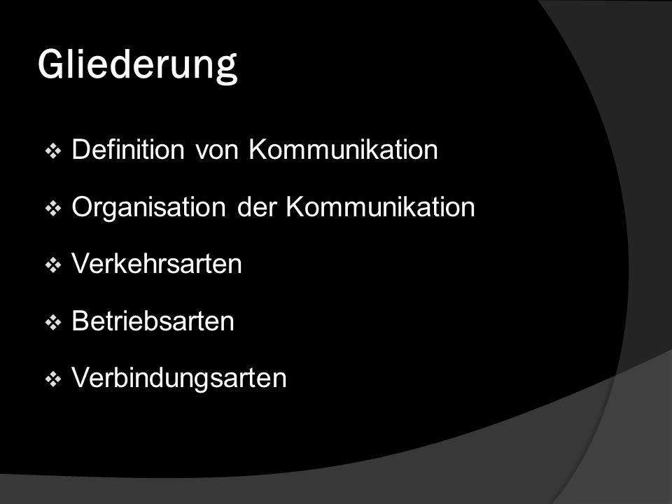 Gliederung Definition von Kommunikation Organisation der Kommunikation Verkehrsarten Betriebsarten Verbindungsarten