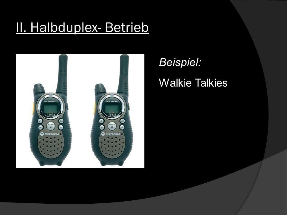II. Halbduplex- Betrieb Beispiel: Walkie Talkies