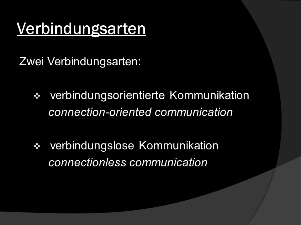Verbindungsarten Zwei Verbindungsarten: verbindungsorientierte Kommunikation connection-oriented communication verbindungslose Kommunikation connectio