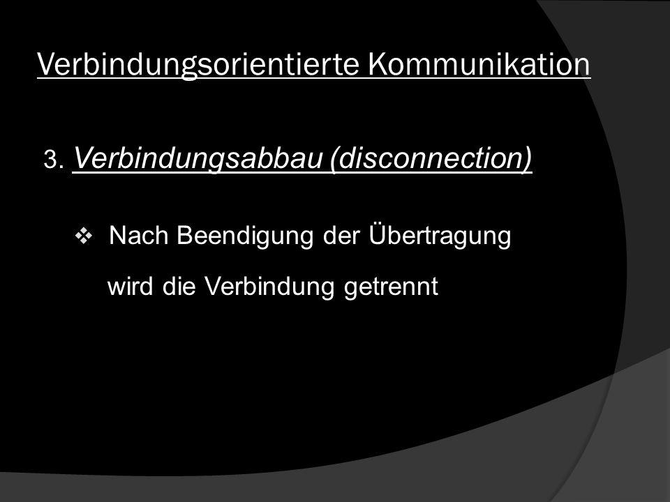 Verbindungsorientierte Kommunikation 3. Verbindungsabbau (disconnection) Nach Beendigung der Übertragung wird die Verbindung getrennt
