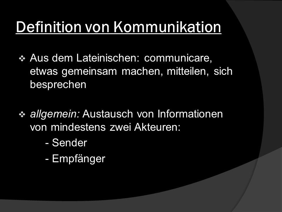 Definition von Kommunikation Aus dem Lateinischen: communicare, etwas gemeinsam machen, mitteilen, sich besprechen allgemein: Austausch von Informatio